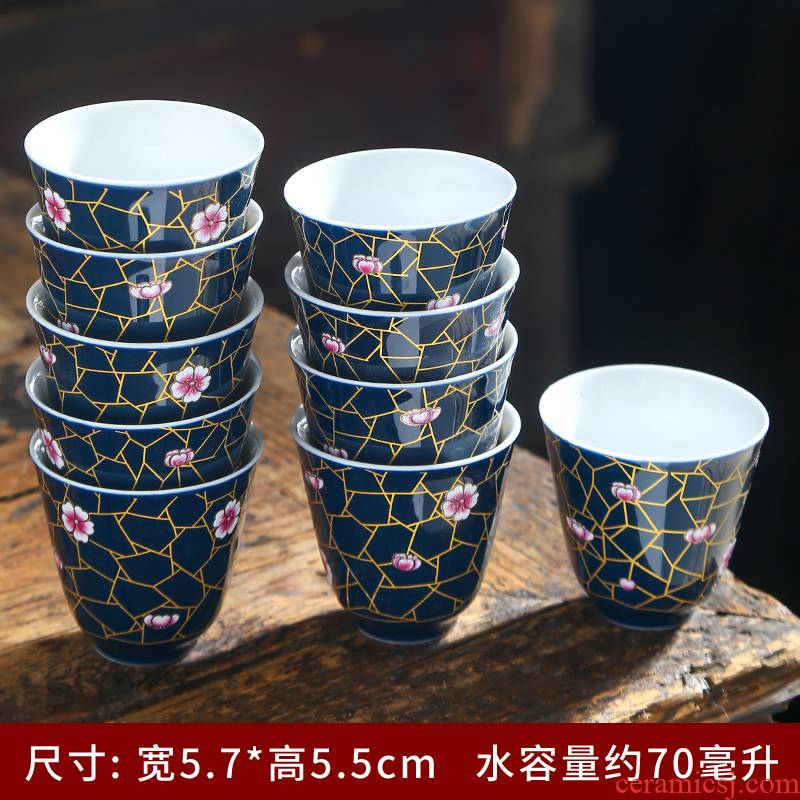 Jingdezhen colored enamel very beautiful blue and white cup sample tea cup of the big bowl kung fu masters cup tea tea bowl