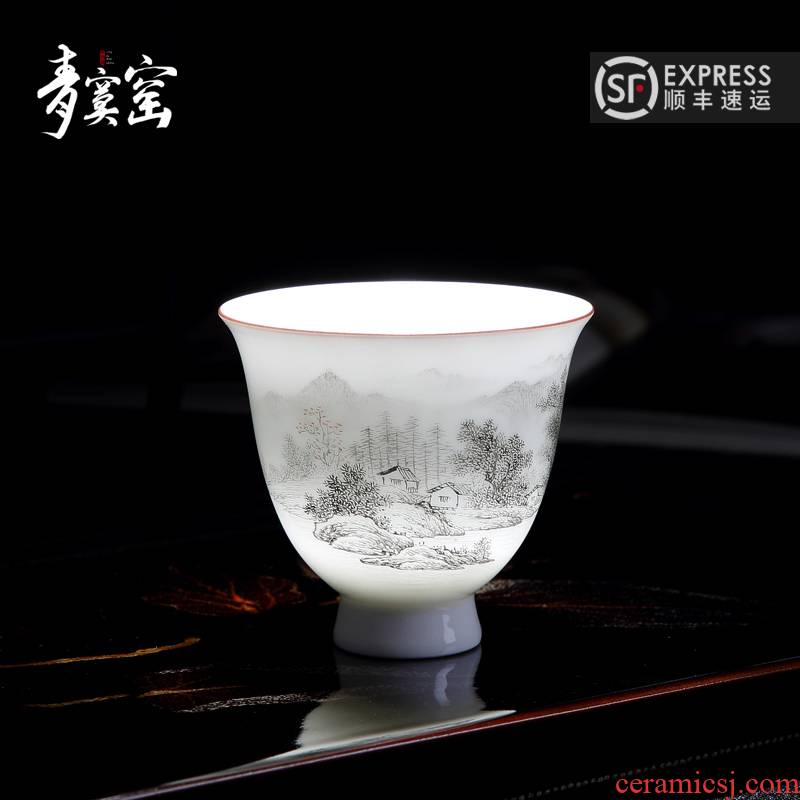 Up with jingdezhen blue was hand - made master cup a single manual kung fu tea tea cup, cup men 's and women' s large
