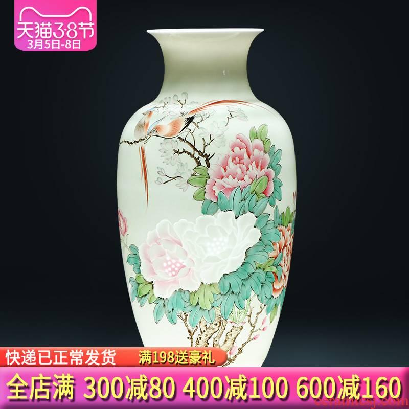 Jingdezhen ceramics master hand carved powder enamel vase flower arrangement of Chinese style living room porch home decoration furnishing articles