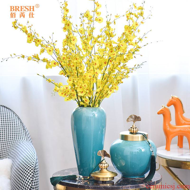 Light the key-2 luxury of modern ceramic vase furnishing articles pure copper cover sitting room suit of new Chinese style household decorates porch arranging flowers