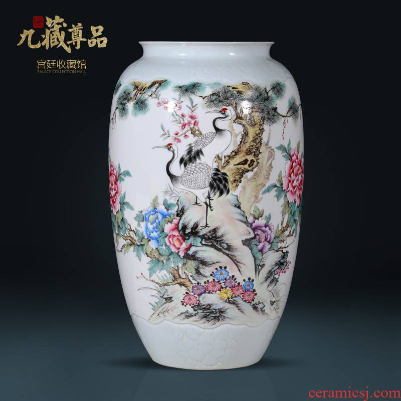 Jingdezhen ceramics hand - made pastel pine crane, prolong vase Chinese style living room porch TV ark, flower arranging furnishing articles