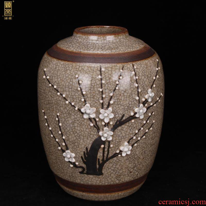 Jingdezhen imitation Ming elder brother up with open piece name plum flower decoration ceramics can manually archaize Dong Wen play antique collection furnishing articles