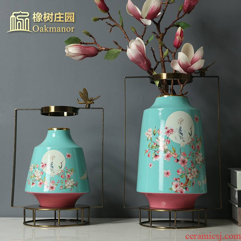 New Chinese style up phnom penh ceramic vase furnishing articles creative living room table flower arranging dried flower ornaments dragonfly metal flower implement