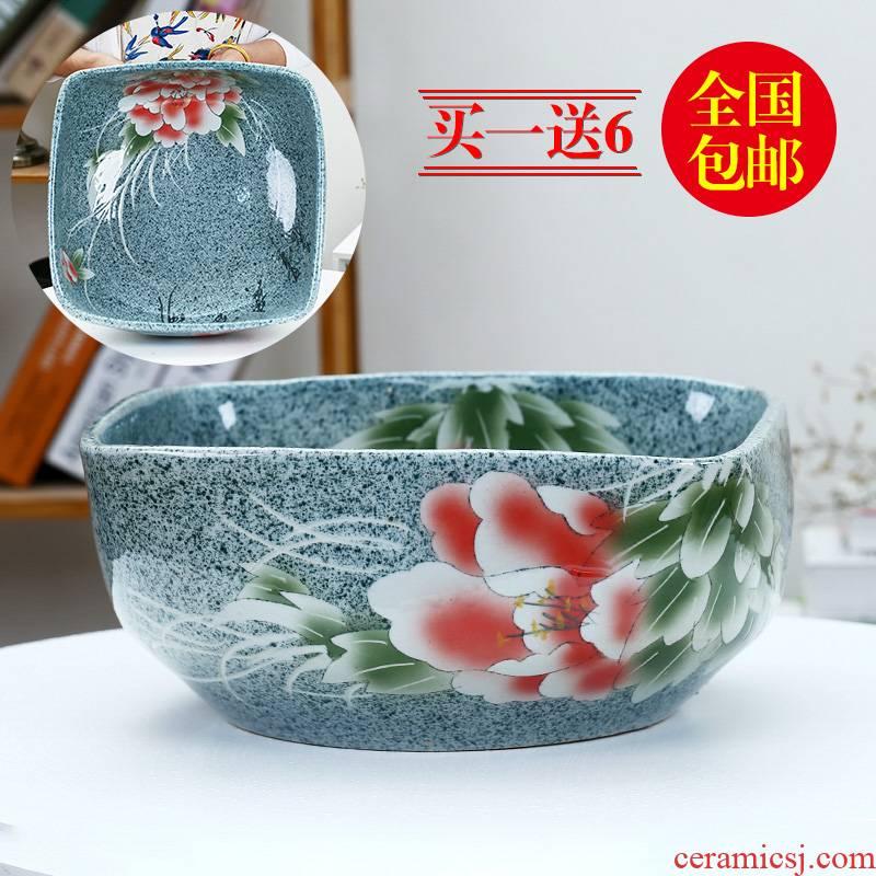 Jingdezhen ceramic aquarium fangyuan lotus blue and white goldfish turtle GangPen sleep bowl lotus refers to basin cylinder tank sitting room
