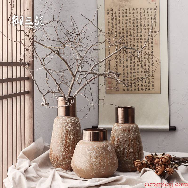 Dried flower adornment furnishing articles coarse light some ceramic pot flower arranging restoring ancient ways is the key-2 luxury of I and contracted ceramic vases, thick mud brown black copper