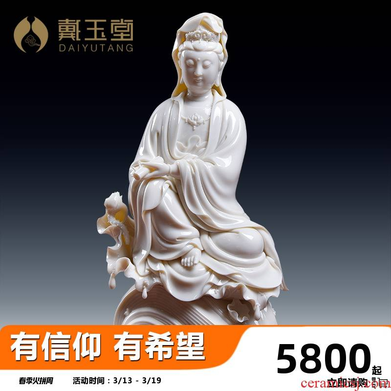 Yutang dai Lin Luyang dehua white porcelain collection master manually signed works of Chinese style furnishing articles/charge to guanyin sitting room