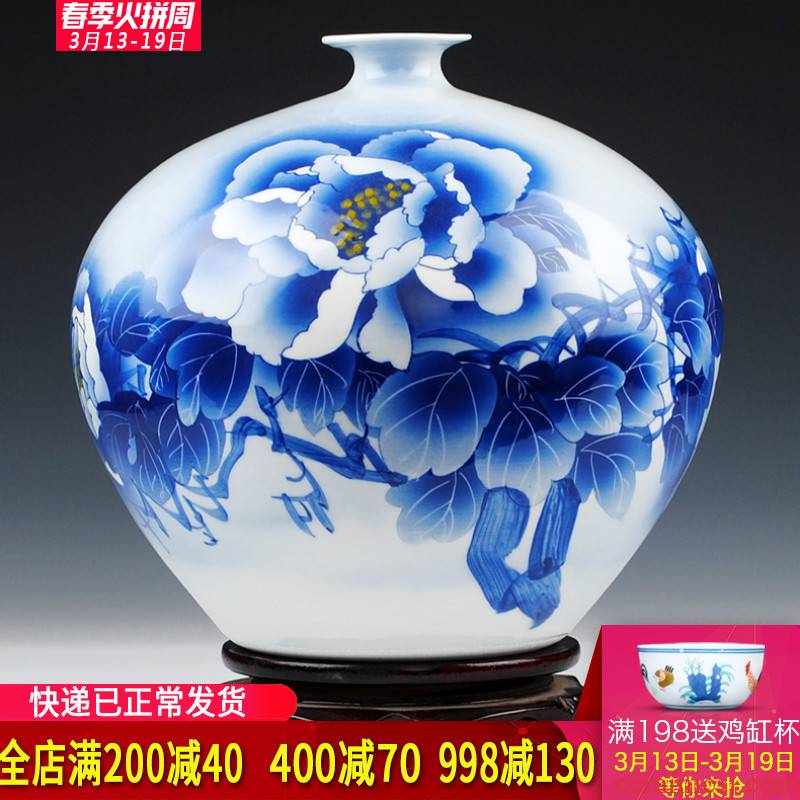 Jingdezhen blue and white porcelain vase celebrity famous master Wu Wenhan hand - made peony flowers prosperous vase collection