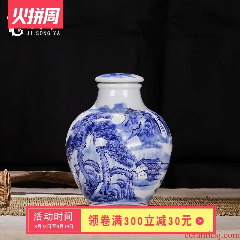 Mercifully bottle ginseng medicine bottle mercifully yangmei 10 jins hand - made of blue and white porcelain bottle wine jar sealed as cans
