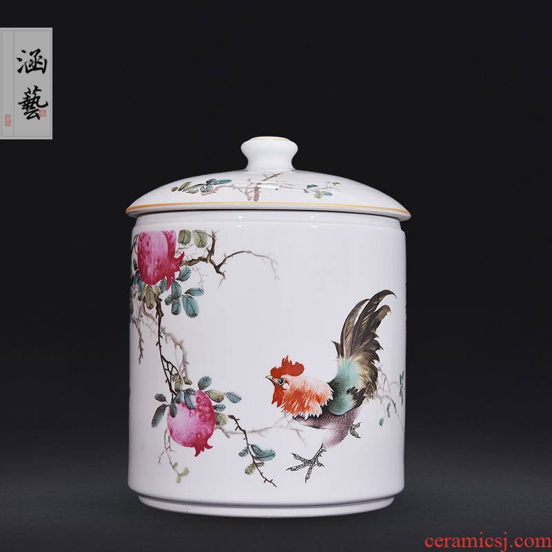 Jingdezhen ceramic famille rose straight canister pomegranate open auspicious caddy fixings Chinese sitting room of home decoration furnishing articles craft gift