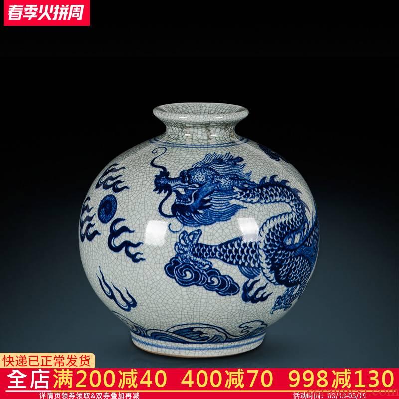 Z038 imitation of jingdezhen ceramics up crack glaze dragon vase flower arranging the sitting room of Chinese style household decorative furnishing articles