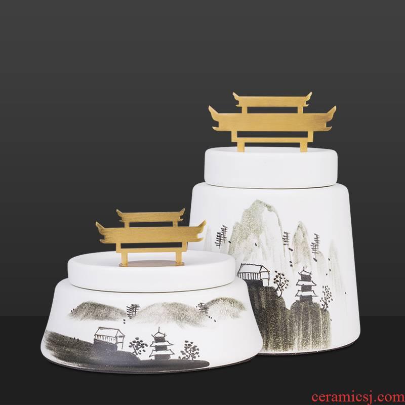 New Chinese style ceramic creative furnishing articles decoration storage tank to the sitting room porch pot light decoration key-2 luxury soft decoration
