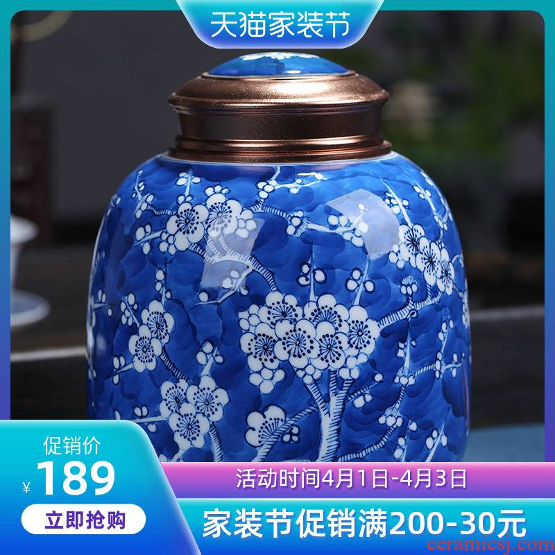 Jingdezhen ceramic blue and white name plum flower tea caddy fixings hand - made canners seal half jins of household