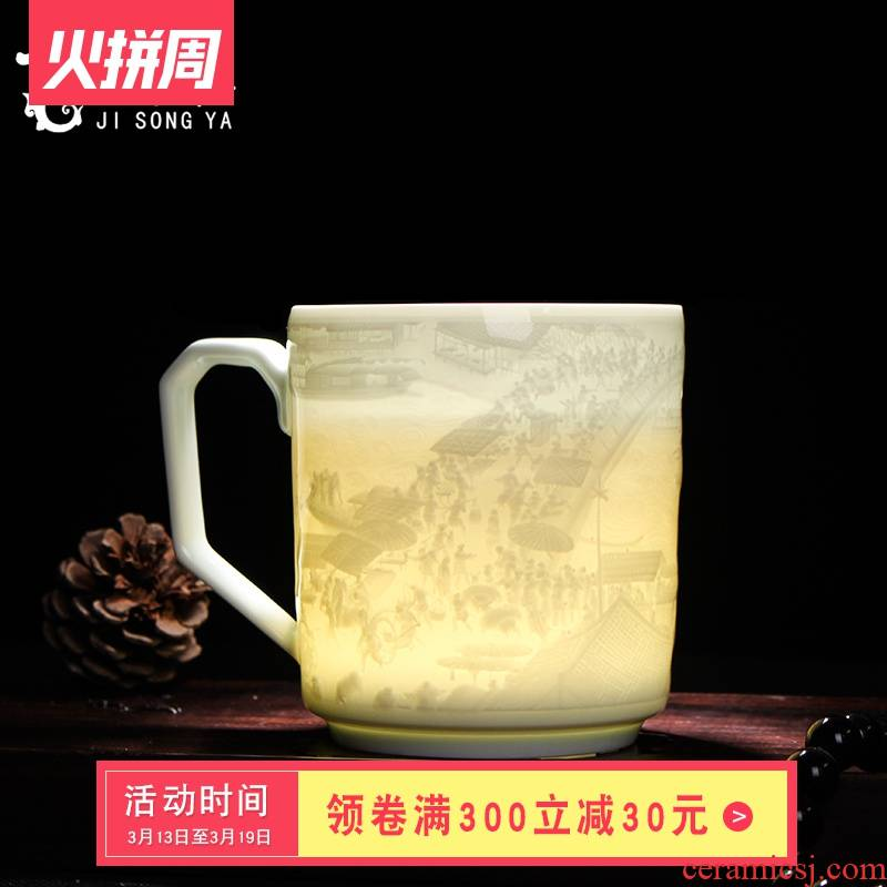 Office cup qingming scroll cup cup tea cups of tea cup jingdezhen ceramic cup with a lid