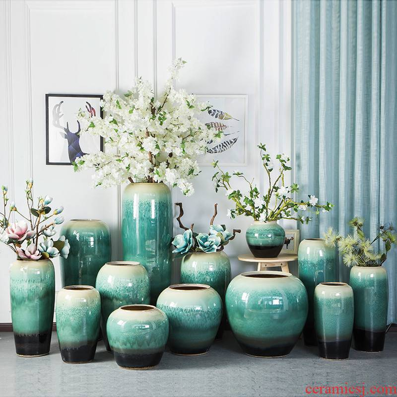 Jingdezhen ceramic floor vase color glaze pottery flower arrangement in modern Chinese style European sitting room hotel villa furnishing articles