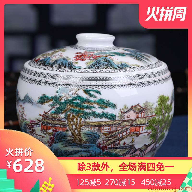 Jingdezhen ceramic hand - made scenery caddy fixings large half jins of household seal pot retro pu - erh tea to wake POTS
