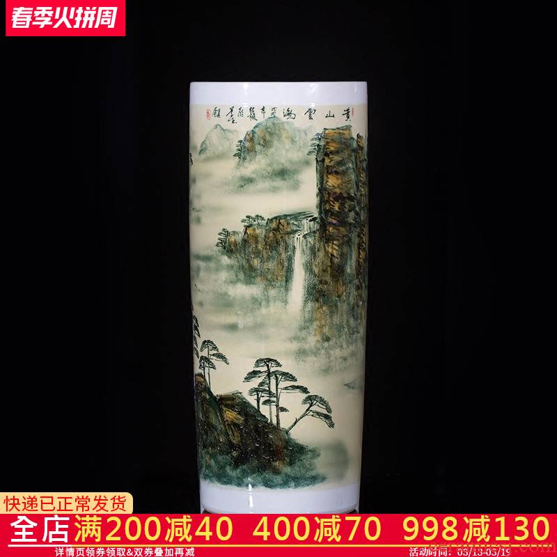 Landscape painting of jingdezhen ceramics vase hand - made landing big sitting room place the study decorate calligraphy and painting scroll cylinder