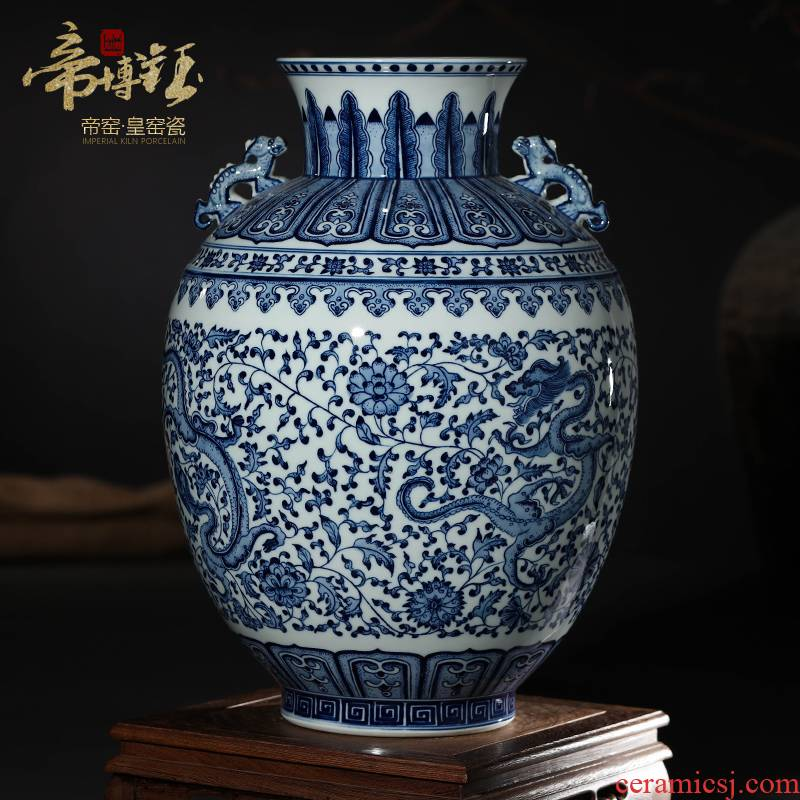 Blue and white porcelain of jingdezhen ceramics antique hand - made bound branch ears bottle gourd bottle vase rich ancient frame decorative furnishing articles
