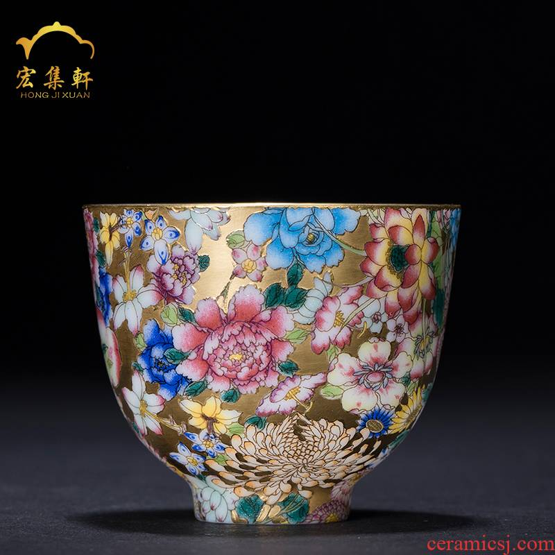 The Master sample tea cup kung fu tea cup single cup of jingdezhen ceramics paint flower is golden cup cup small thin porcelain cups