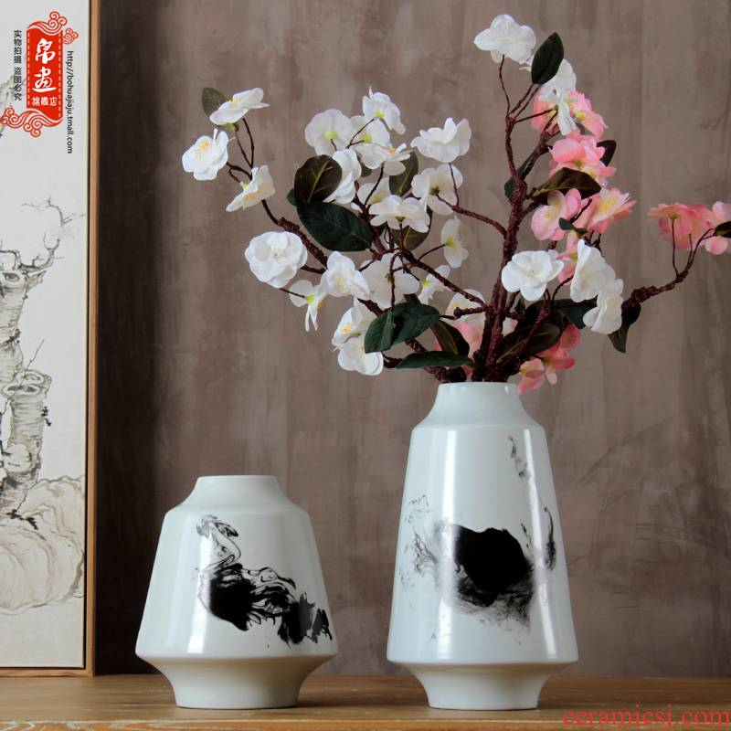 Jingdezhen ceramic vases, modern Chinese style simple black and white suit sitting room adornment zen water raise flower arranging furnishing articles