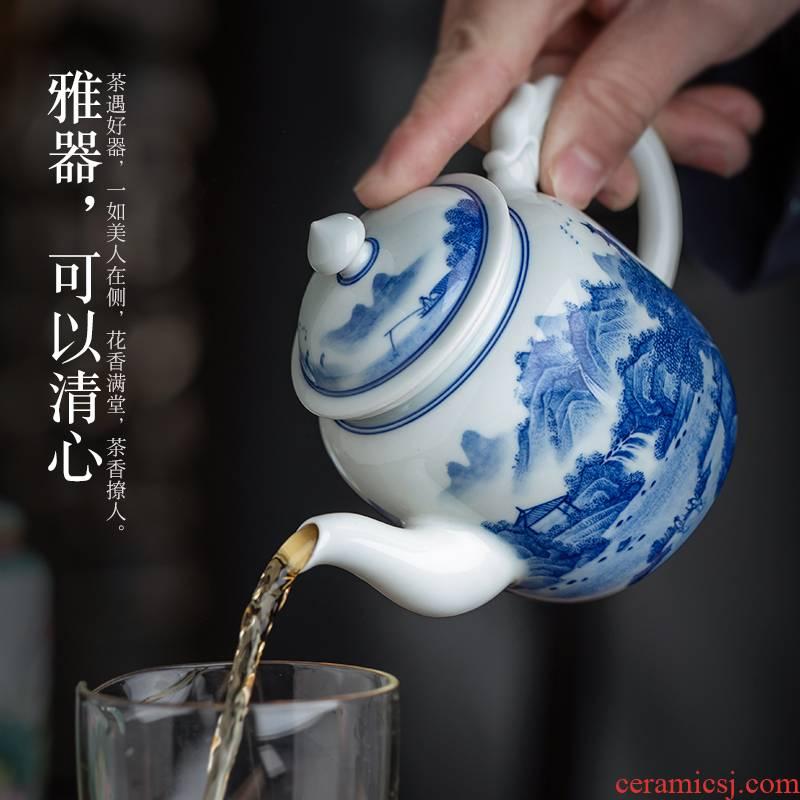 Jingdezhen ceramic hand - made porcelain maintain landscape ewer kung fu tea set large single pot of big capacity of the teapot