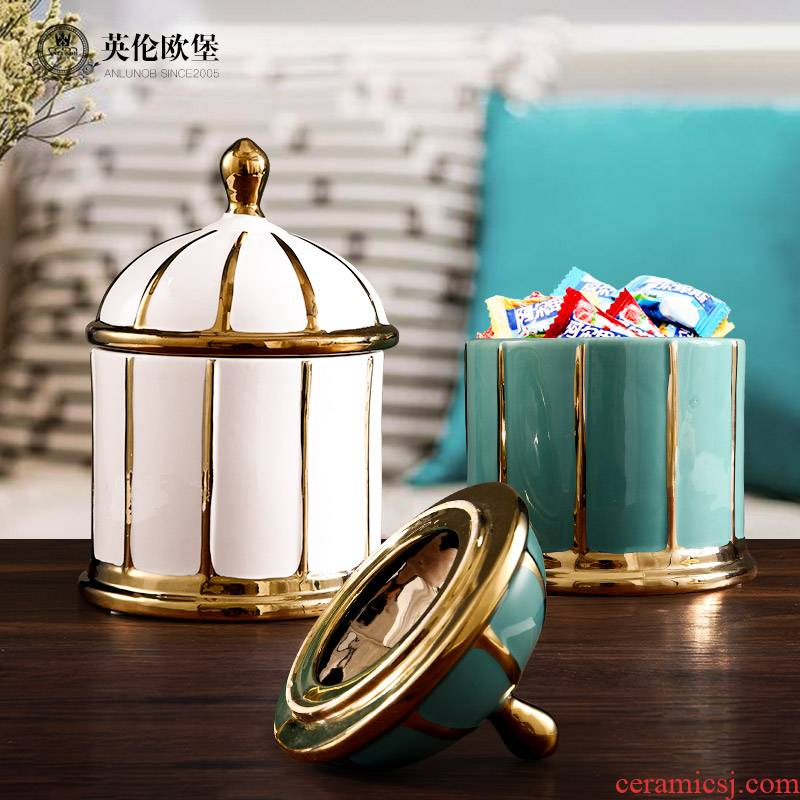 Europe type restoring ancient ways home decoration ceramic storage tank furnishing articles American - style candy jar with cover living room table to receive as cans