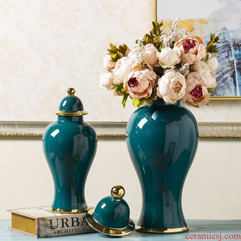 Jingdezhen ceramic vase general green pot pottery European - style key-2 luxury home decoration flower arrangement sitting room decoration