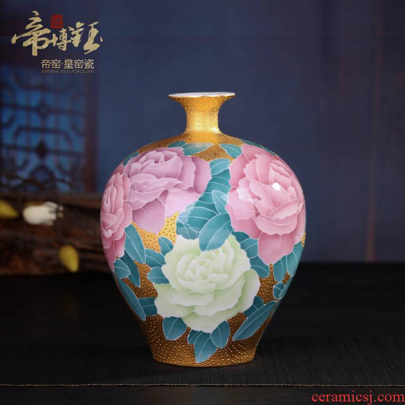 Jingdezhen ceramic glaze colorful hand - made gold lotus revenue bottle under top - grade handicraft ceramic vases, furnishing articles