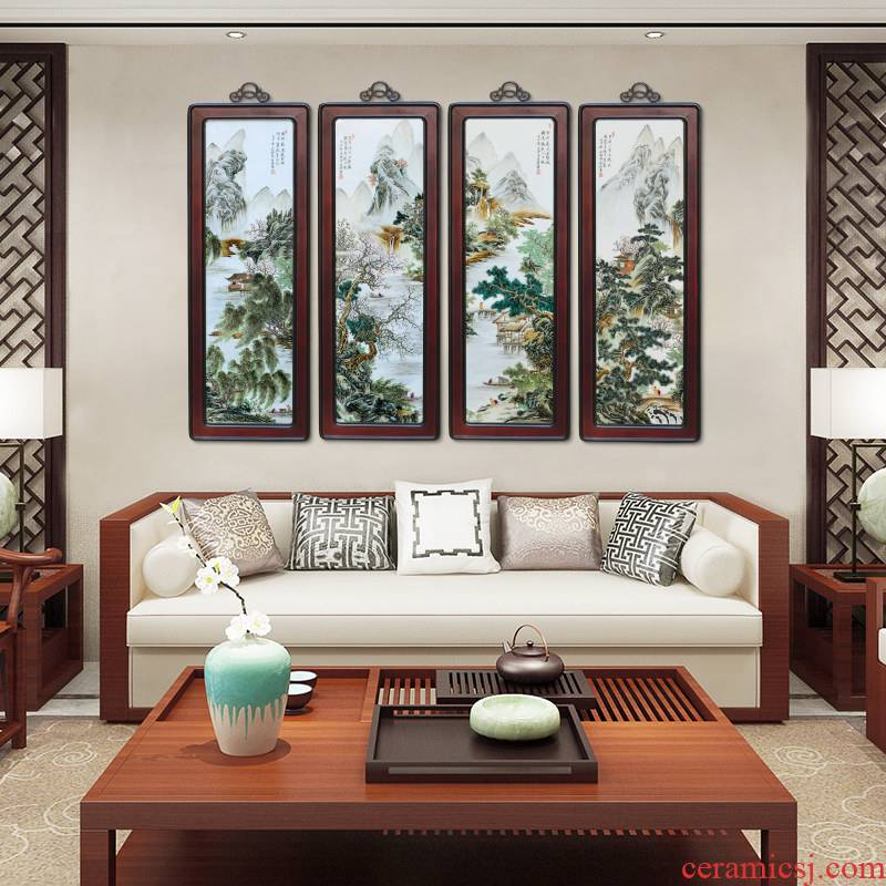 The sitting room sofa setting wall decorations porch corridor murals hand famille rose porcelain of jingdezhen porcelain plate painting