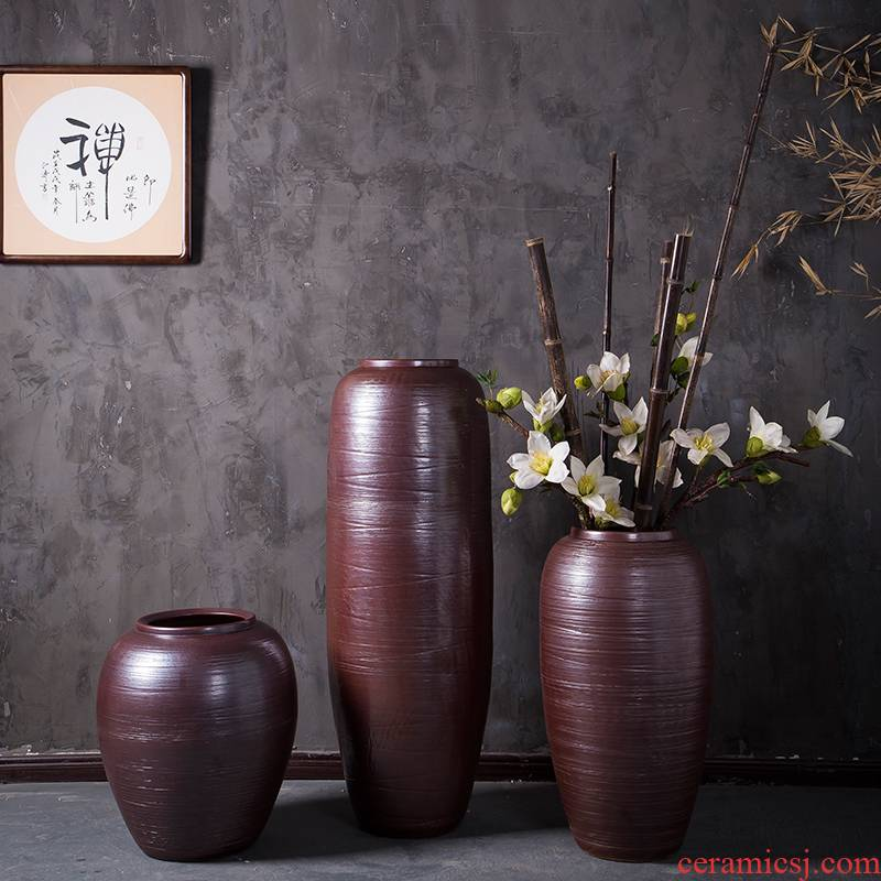 New Chinese style ceramic vase furnishing articles flower arranging large sitting room ground flowerpot jingdezhen household contracted modern northern Europe