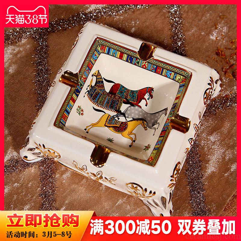 European - style key-2 luxury ceramic ashtray sitting room tea table decorations restoring ancient ways of creative move large ashtray furnishing articles