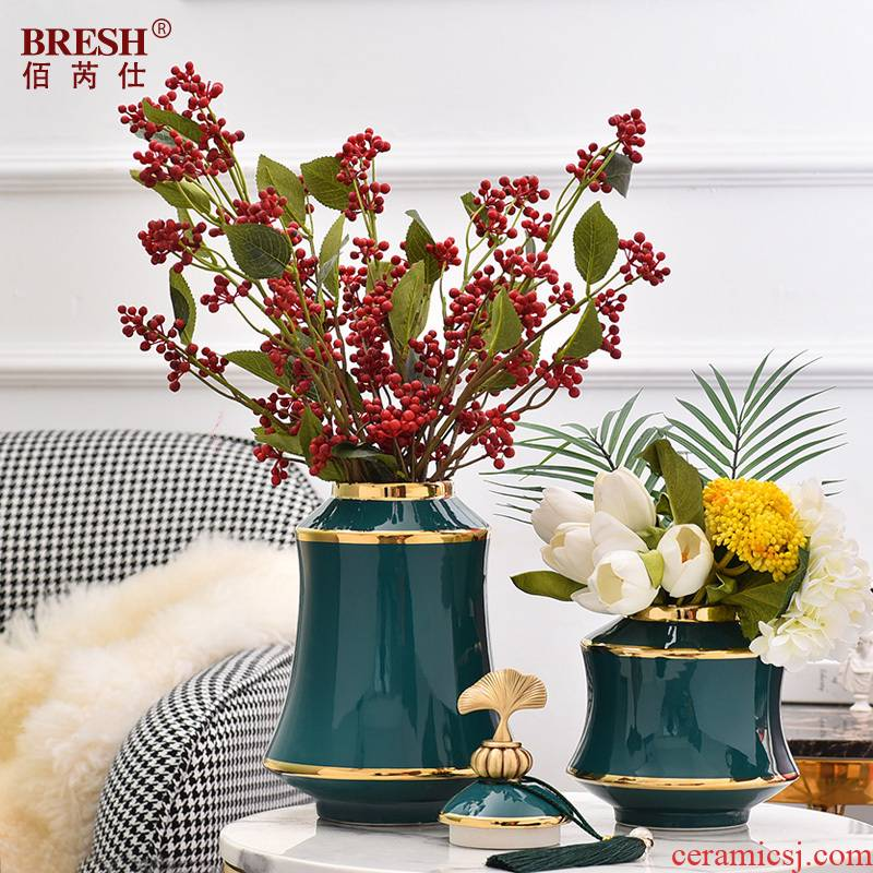 American decorative furnishing articles wine sitting room TV cabinet vase ceramic household act the role ofing is tasted H1075 blackish green storage tank