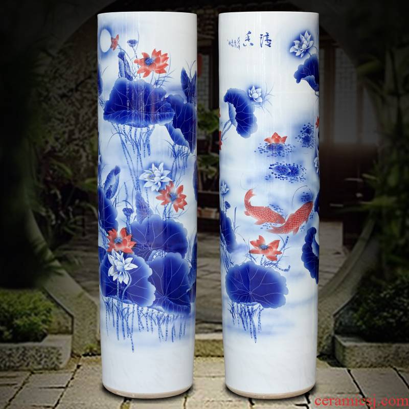 Jingdezhen ceramic quiver hand - made lotus fish large vases, sitting room of Chinese style household furnishing articles for opening gifts