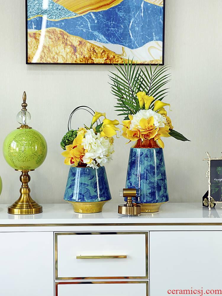 American creative ceramic vase furnishing articles sitting room porch dried flowers flower arrangement of Europe type TV ark, decoration key-2 luxury decoration