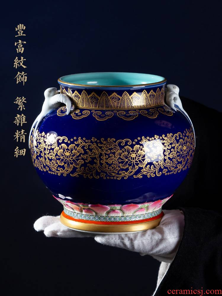 Jia lage archaize of jingdezhen ceramic vase YangShiQi up gold HaiYanHeQing statute of double yan ji green ears as cans