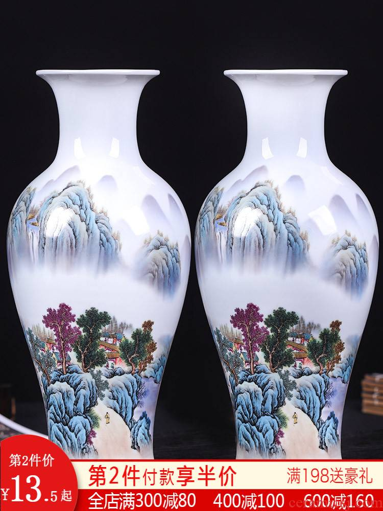 Jingdezhen ceramics, vases, flower arrangement of new Chinese style living room lucky bamboo wine rich ancient frame home furnishing articles