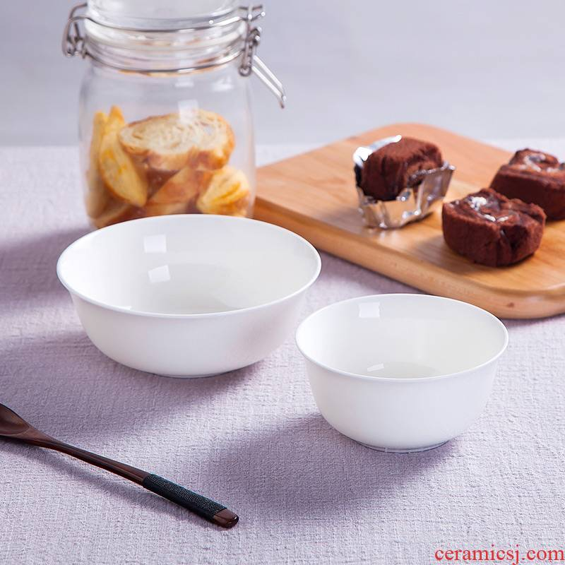 Jingdezhen ceramic tableware to use suit Chinese style household pure white eat bowl large rainbow such use microwave soup bowl