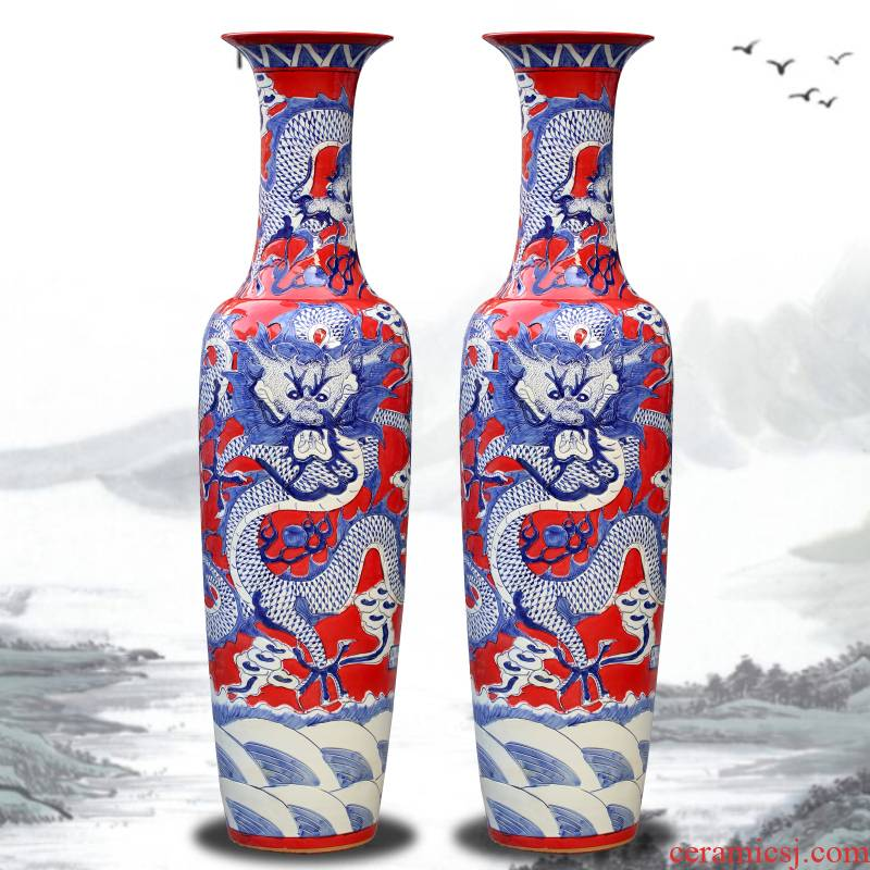 Jingdezhen ceramics new classical Chinese red dragon carving of large vase decoration large hotel porcelain furnishing articles