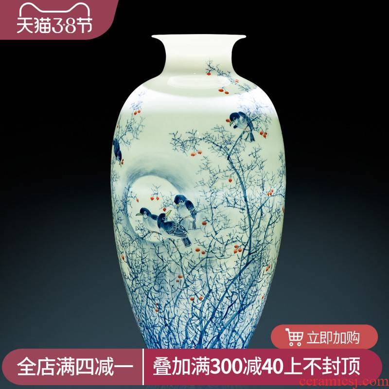 The Master of jingdezhen ceramics pure hand draw Chinese blue and white porcelain vase furnishing articles Chinese wind sitting room porch decoration