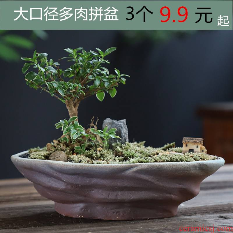Large diameter ceramic flowerpot more meat creative brief, coarse pottery Large platter flowerpot indoor flower pot in special offer a clearance