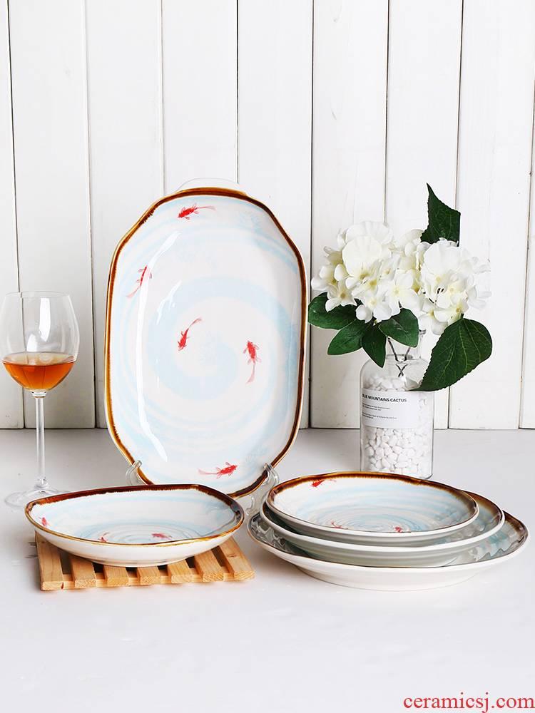 Shun cheung ceramic plates simple dishes FanPan creative move deeply dumpling dish home dish dish soup plate plate