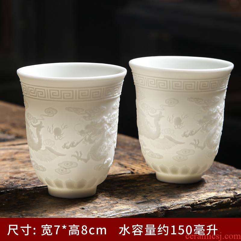 Ceramic masters cup single CPU kunfu tea cup single suet jade tea cup large white porcelain cups sample tea cup