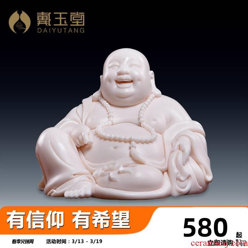 Yutang dai Lin Jiansheng master porcelain maitreya laughing Buddha maitreya child red car furnishing articles D03-34 cloth bag