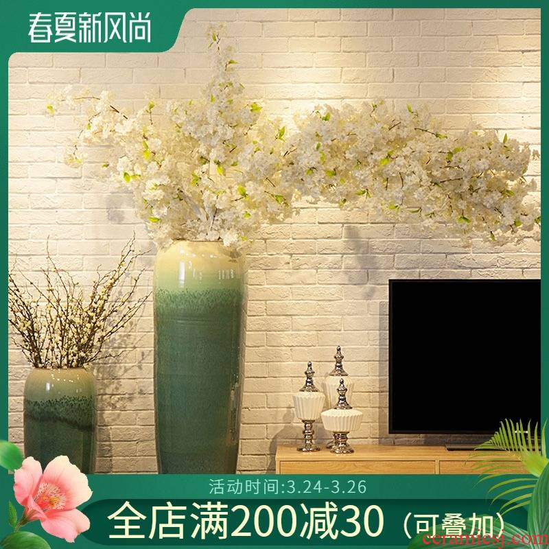 Jingdezhen ceramic garden hotel club restaurant of large vases, flower implement of new Chinese style flower sitting room big furnishing articles