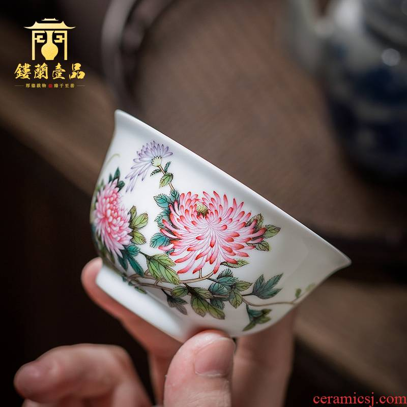 Jingdezhen ceramic hand - made pastel heavy by butterfly figure master cup single cup sample tea cup kung fu tea set porcelain cups