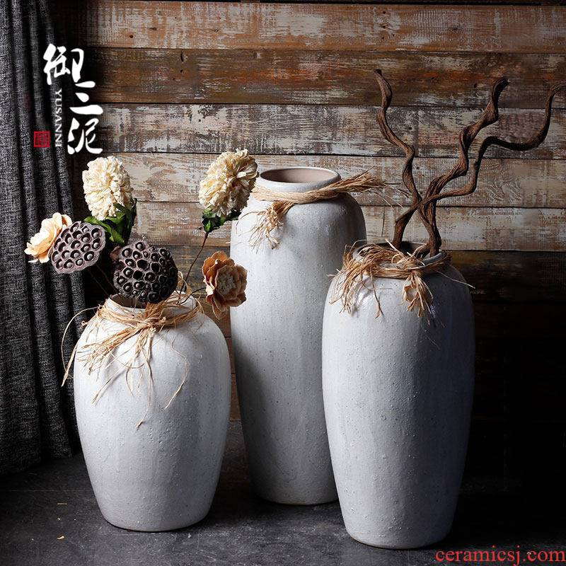 Restoring ancient ways is I and contracted floor vase manual coarse dry flower, flower implement sitting room earthenware pottery jar imitated old big flower pot