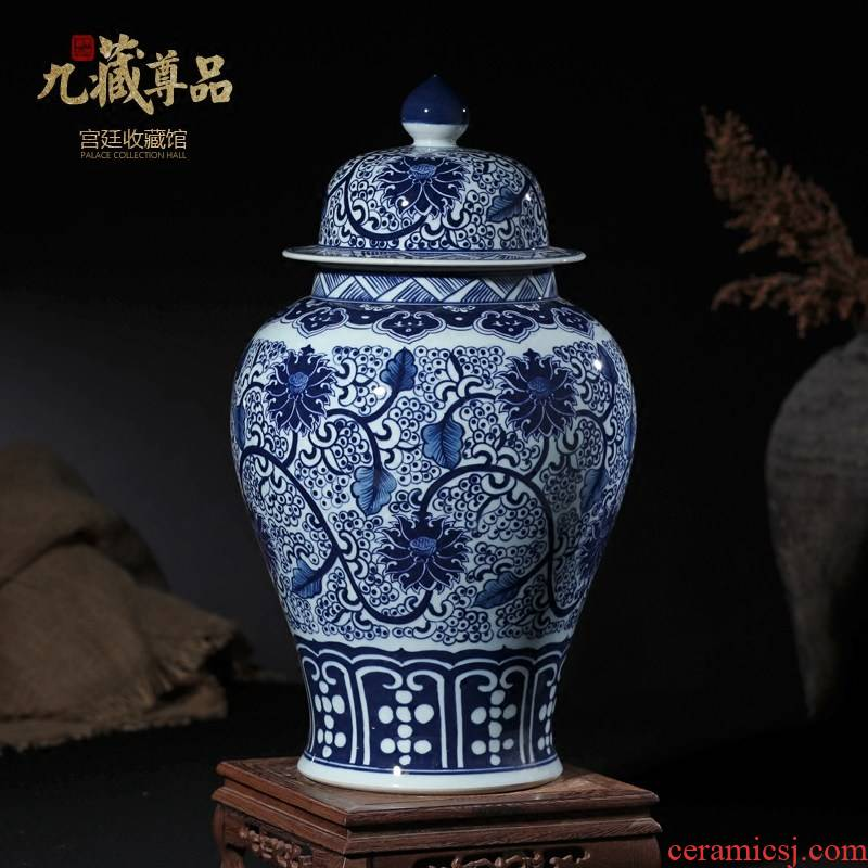 Jingdezhen blue and white porcelain ceramic vase put lotus flower general grain tank Chinese style living room TV cabinet storage tank furnishing articles