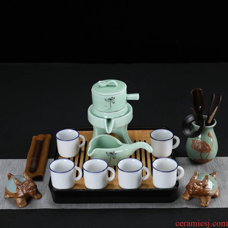 Semi - automatic graphite tea set suit household kung fu tea cups ceramic creative violet arenaceous stone mill lazy teapot tea tray