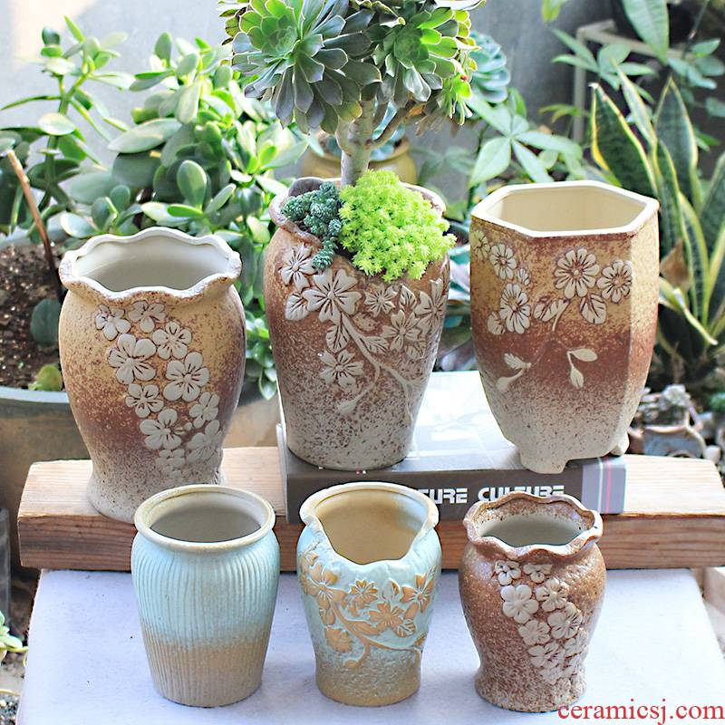 Flowerpot retro ceramic flower POTS, fleshy meat meat the plants contracted character coarse pottery violet arenaceous mage gop running high pot