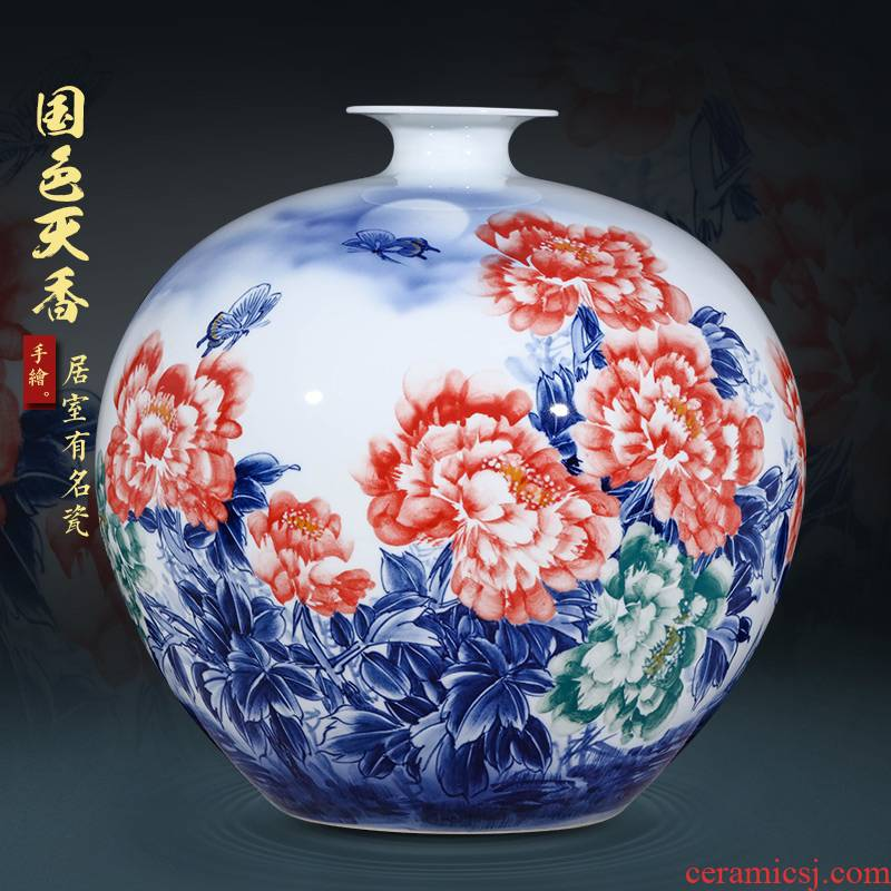 Jingdezhen ceramics hand - made porcelain vase peony pomegranate large Chinese style living room home furnishing articles