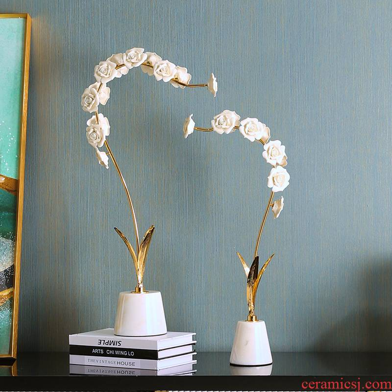 Modern creative light key-2 luxury ceramic flower art butterfly orchid art table decorations furnishing articles sitting room TV cabinet decoration